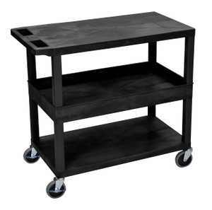 Luxor Black EC212-B 18x32 Cart 2 Flat/1 Tub Shelves