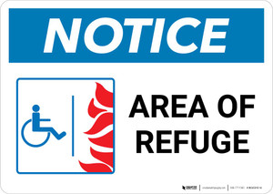 Notice: Area Of Refuge with ADA Fire Icon Landscape