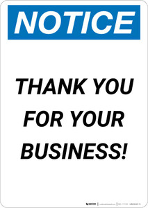 Notice: Thank You For Your Business! Portrait