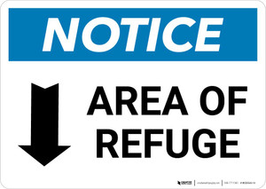 Notice: Area of Refuge with Down Arrow Landscape
