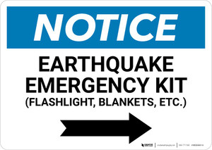 Notice: Earthquake Emergency Kit - Flashlight/Blankets/ect - with Right Arrow Landscape