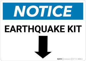 Notice: Earthquake Kit with Down Arrow Landscape