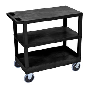 Luxor Black EC221HD-B 18x32 Cart 2 Flat/1 Tub Shelves