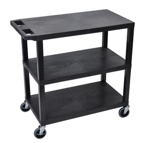 Luxor Black EC222-B 18x32 Cart 3 Flat Shelves