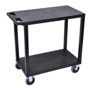 Luxor Black EC22HD-B 18x32 Cart with 2 Flat Shelves