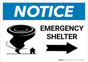 Notice: Emergency Shelter Right Arrow with Icon Landscape