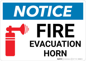 Notice: Fire Evacuation Horn with Icon Landscape