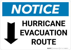Notice: Hurricane Evacuation Route with Down Arrow and Icon Landscape