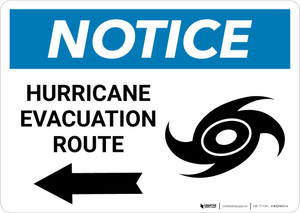 Notice: Hurricane Evacuation Route with Left Arrow and Icon Landscape