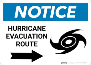 Notice: Hurricane Evacuation Route with Right Arrow and Icon Landscape