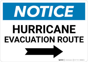 Notice: Hurricane Evacuation Route with Right Arrow Landscape