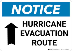 Notice: Hurricane Evacuation Route with Up Arrow and Icon Landscape