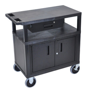 Luxor Black EC34CDHD-B 18x32 Cart W/ 3 Shelves, Cabinet & Drawer & Heavy Duty Casters