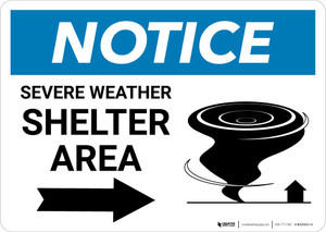 Notice: Severe Weather Shelter Area with Right Arrow Landscape
