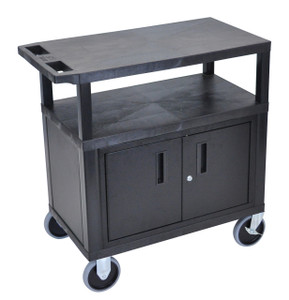 Luxor Black EC34CHD-B 18x32 Cart W/ 3 Shelves, Cabinet & Heavy Duty Casters