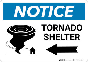 Notice: Tornado Shelter Right Arrow with Icon Landscape
