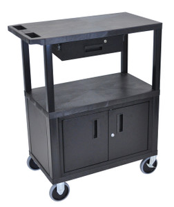Luxor Black EC38CDHD-B 18x32 Cart W/ 3 Shelves, Cabinet & Drawer & Heavy Duty Casters