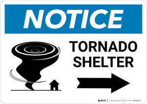 Notice: Tornado Shelter Up Arrow with Icon Landscape