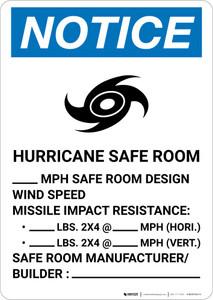 Notice: Hurricane Safe Room Design Wind Speed Portrait