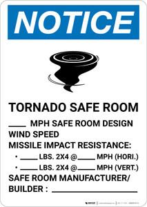 Notice: Tornado Safe Room Design Wind Speed Portrait