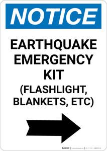 Notice: Earthquake Emergency Kit - Flashlight/Blankets/ect - Right Arrow Portrait