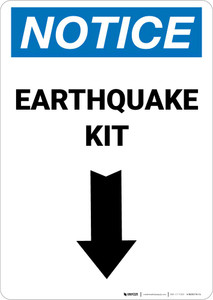 Notice: Earthquake Kit with Down Arrow Portrait