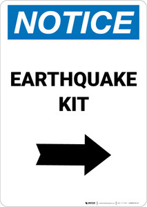 Notice: Earthquake Kit with Right Arrow Portrait