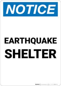 Notice: Earthquake Shelter Portrait