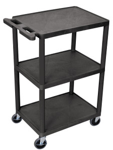 Luxor 3 Shelf Utility Cart Black
