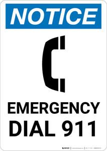 Notice: Emergency Dial 911 Portrait