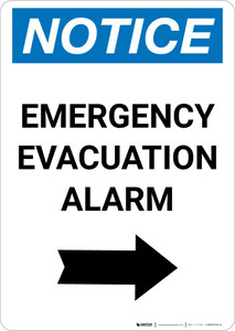 Notice: Emergency Evacuation Alarm with Right Arrow Portrait