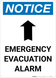 Notice: Emergency Evacuation Alarm with Up Arrow Portrait