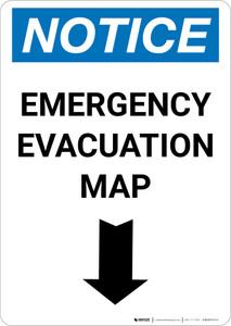 Notice: Emergency Evacuation Map with Down Arrow Portrait