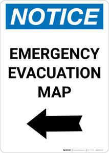 Notice: Emergency Evacuation Map with Left Arrow Portrait