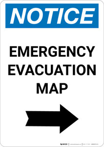 Notice: Emergency Evacuation Map with Right Arrow Portrait