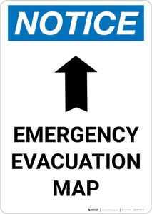 Notice: Emergency Evacuation Map with Up Arrow Portrait