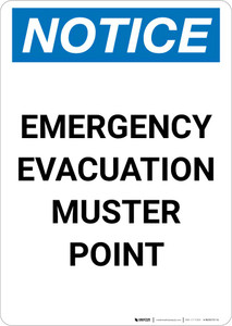 Notice: Emergency Evacuation Muster Point Portrait