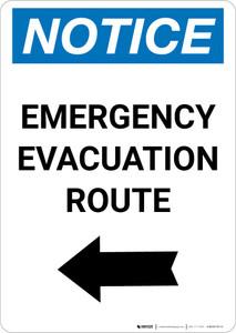 Notice: Emergency Evacuation Route with Left Arrow Portrait