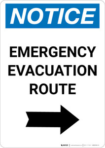Notice: Emergency Evacuation Route with Right Arrow Portrait
