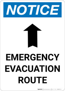 Notice: Emergency Evacuation Route with Up Arrow Portrait