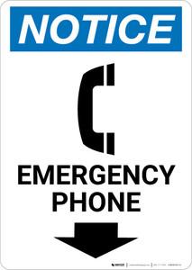 Notice: Emergency Phone Down Arrow with Icon Portrait