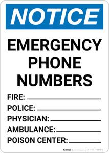 Notice: Emergency Phone Numbers Portrait