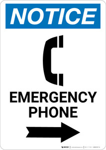 Notice: Emergency Phone Right Arrow with Icon Portrait