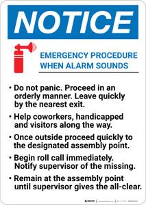 Notice: Emergency Procedure When Alarm Sounds Portrait