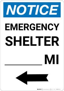 Notice: Emergency Shelter Mile Left Arrow Portrait