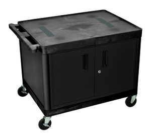 Luxor Endura A/V 2 Shelf Cart Black W/ Cabinet