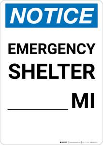 Notice: Emergency Shelter Mile Portrait