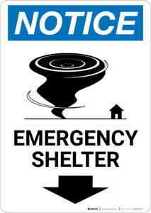 Notice: Emergency Shelter Down Arrow with Icon Portrait