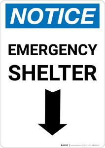 Notice: Emergency Shelter Down Arrow Portrait