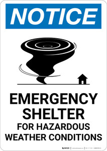 Notice: Emergency Shelter For Hazardous Weather Conditions with Icon Portrait